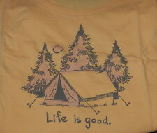 Large NWT Women's Life is Good Good Karma Tent Camping Camp Woods SS Tee