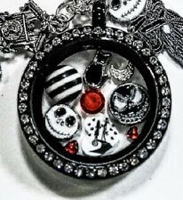 THE NIGHTMARE BEFORE CHRISTMAS BLACK GLASS GEM  LOCKET CHARM NECKLACE-NEW