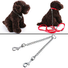 Coupler Double Dog Twin Lead 2 Way For Two Pet Dogs Walking Leash Safety Chain #