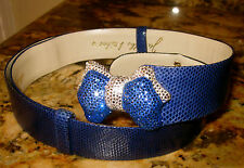 Judith Leiber Amen Wardy RARE BOW Novelty AUSTRI Crystal ROYAL BLUE BELT LEATHER