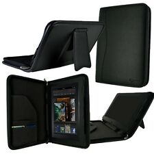 "rooCASE for Amazon Kindle Fire 7"" - Executive Leather Folio Case Black Lot C4"