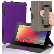 Slim Hard Back Leather Case Smart Cover w/ Hand Strap For Google Nexus 10 Purple