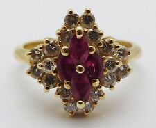 BEAUTIFUL Solid 14k Yellow Gold / Diamonds / Ruby Ladies Ring * 1.00 CT TWT *
