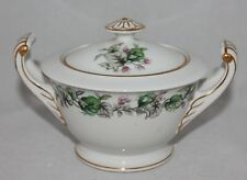 Vintage Pearl China SUGAR BOWL dish Green Leaves pink flower Made in Japan