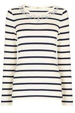 Oasis Hotfix crew top size L, Cream/navy stripe, BNWT