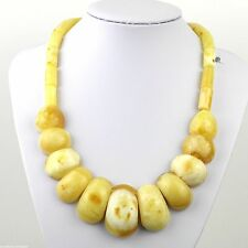 89.6 g Genuine natural amber half beads necklace White Cloud egg yolk 真正的琥珀項鍊