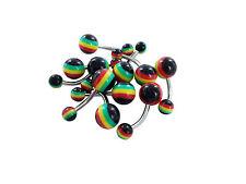 Wholesale Bulk 10x RASTA NAVEL BELLY Ring Bar Button Body Piercing Jewellery bar