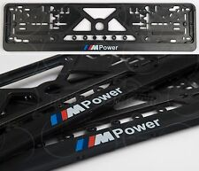 2x M-POWER BMW LOGO EXCLUSIVE EUROPEAN LICENSE NUMBER PLATE SURROUNDS HOLDERS