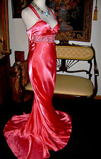 Jean Harlow PINK Glossy Liquid Satin Formal Gown Mary L. Couture Halter Dress 4
