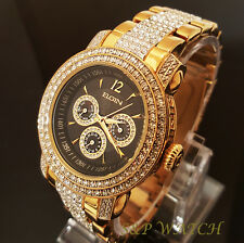 Men Elgin Iced Out Chronograph White Stone Luxury Bracelet Clubbing Watch FG507S