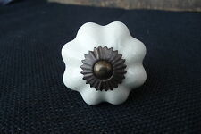 White Crackle Ceramic Scallop Pumpkin DRAWER PULL KNOB w/ Brass base  Home Decor