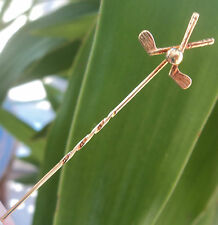 Vintage 9ct Gold Stick Pin / Tie Pin / Brooch 1970 - Golfing / Golf Ball / Clubs