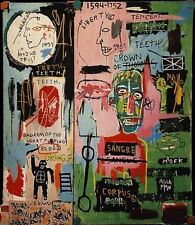 "Jean Michel Basquiat ""In Italian"" Abstract HUGE Oil Painting on Canvas 20x24"""