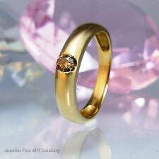 Anillo en 585/- dorado con 1 diamante-marrón-aprox. 0,12 TC.