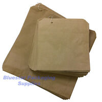 """100 x Kraft Brown Paper Food Bags Strung 12"""" x 12.5"""" for Sandwiches Groceries"""