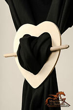 GREAT 2 x WOODEN HEART CURTAIN BROOCH CLIP HOLD TIE BACKS CHIC CHOP STICK STYLE