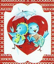 Vintage VALENTINE Greeting Card HAPPY ANTHROPOMORPHIC BLUE BIRDS Couple UNused