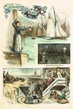 "Harper's Weekly Engraving - ""AMONG THE YACHTS"" - Hand-Colored - c1875"