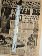 SPORTS MIRROR 4 PAGE SOCCER SPECIAL JULY 1991 TENNENTS FIXTURES GUIDE FOOTBALL