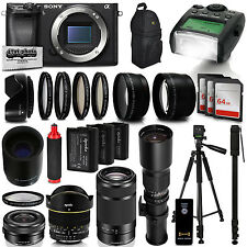 Sony Alpha a6300 Mirrorless Black Digital Camera with 16-1000mm Lens Bundle Kit