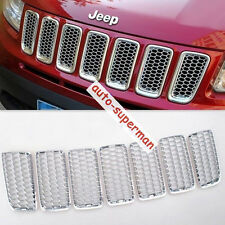 Chrome Front Honey-Comb Grille vent Mesh Bezel Cover trims jeep compass 2011-16