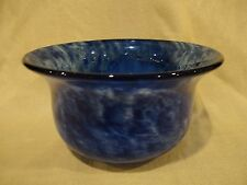 """Murano Style Blue White Swirl Glass Bowl Tulip Shape with Flared Lip - 8 7/8"""" D"""