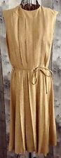 Vintage 1950s 60s Gold Metallic Dress Pleated Sleeveless Below Knee Size Medium