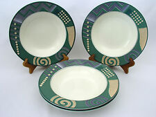 """(3) MIKASA INTAGLIO - LIFE STYLE CAC18 - 9 1/4"""" RIMMED SOUP BOWLS - EXCELLENT"""