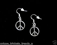 SILVER PEACE SIGN SYMBOL HIPPIE BOHO CHIC CHARM DANGLE EARRINGS~STERLING HOOKS
