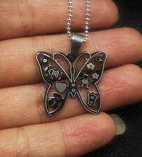 Classic Men's Silver 316L Stainless Steel butterfly Titanium Pendant Necklace