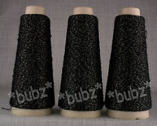 THREE CONE FINE LUREX GLITTER YARN 6 BALL KNIT BLACK & GOLD SHIMMER LACE SPARKLE
