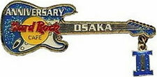 "Hard Rock Cafe OSAKA 2003 2nd Anniversary PIN Blue Guitar Roman Numeral ""II"""