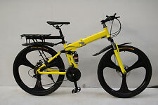 "26"" FOLDING MOUNTAIN BIKE BICYCLE YELLOW SHIMANO 21 SPEED MAGNESIUM ALLOY WHEEL"