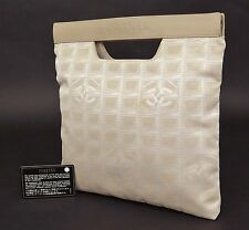 Authentic CHANEL New Travel Line Beige Tote Hand Bag Purse #21246