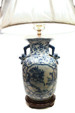 """Beautiful Blue and White Porcelain Vase Lamp Table Lamp Blue Willow 29""""H"""