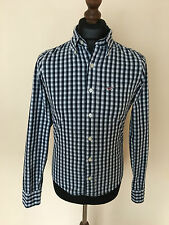 Men Hollister Blue Check Cotton Long Sleeves Casual Shirt Size S Small