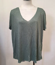 Project Social T Women's V-Neck Shirt Textured Knit Moss SM NWT Urban Outfitters