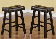 """Set of 2 Brown Faux Leather Seat Cushion Black Solid Wood 24""""H Saddle Bar Stools"""