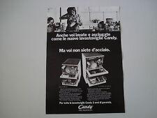 advertising Pubblicità 1972 LAVASTOVIGLIE CANDY C 184 INOX/STIPOMATIC 10/5 INOX
