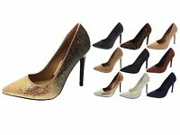 Womens Stiletto High Heels Pointed Toe Court Shoes Ladies Work Shoes Size UK 3-8