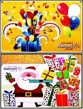 2x WALMART CHRISTMAS SANTA CLAUS & BIRTHDAY PARTY RARE COLLECTIBLE GIFT CARD LOT