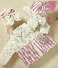 "Baby Crochet Coat, Helmet and Mittens Pattern in 4ply 20-22""   760"