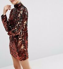 BRANDED Copper Sequin High Neck Shift Evening Mini Dress UK 8/EU 36/US 4