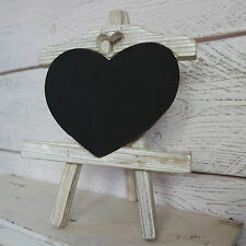 White Washed Wooden Heart Chalk Memo Board Blackboard Easel/Stand Wedding Home