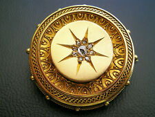 Antique Victorian 15ct Gold Etruscan Style Rose Diamond set Target Brooch c1895