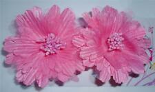 "NEW 2 Pink Hair Flower Alligator Clip Barrette 3"" Inch Prom Dance Party"