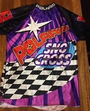 Polaris Sno Cross Graphic Long Sleeve Jersey T-Shirt (XL) Vtg Snowmobile Racing