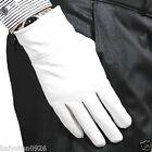 Herren Damen 100% Leder weiß/schwarz warme Handschuhe Hochzeit Partei-Handschuhe