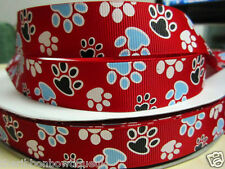 "1 yard - 22mm (7/8"") wide RED/HOT PINK COLOURED DOG PAW PRINT GROSGRAIN RIBBON"