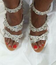 wedge sandal gold and silver with rhinestones